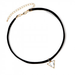 PEF0014 BOBIJOO Jewelry Ras Neck Triangle White Marble Golden Leather