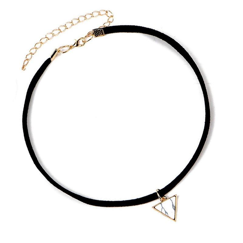 PEF0014 BOBIJOO Jewelry Ras de Cou Triangle Marbre Blanc Cuir Doré