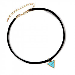 PEF0015 BOBIJOO Jewelry Ras Neck Triangle Blue Marble Golden Leather