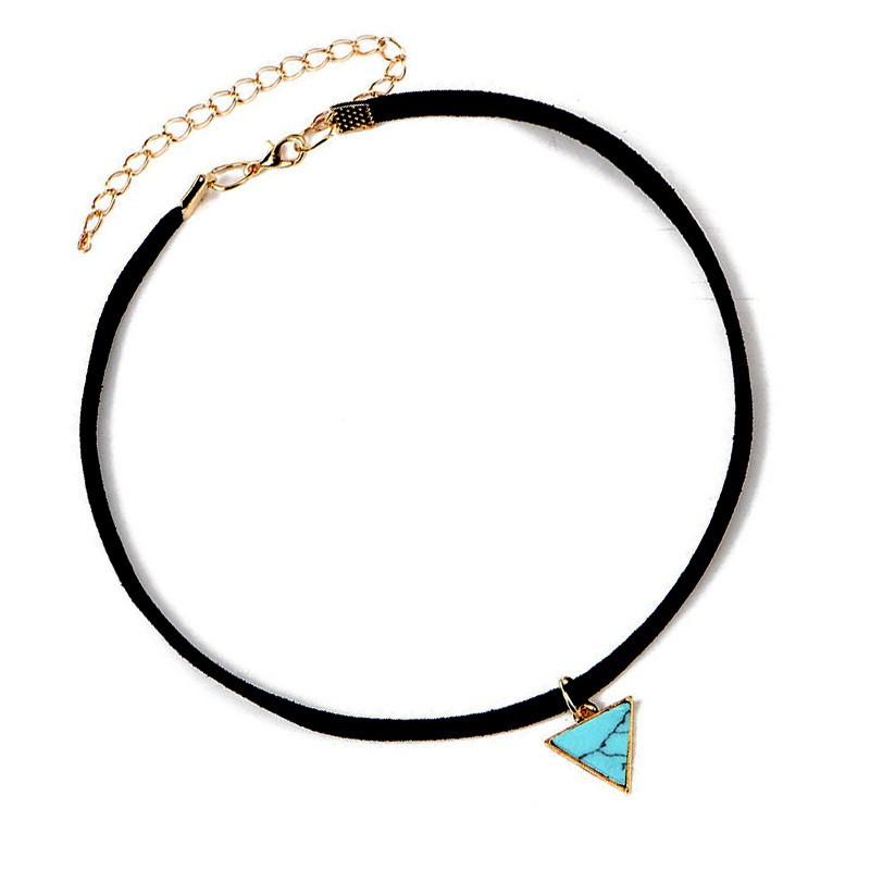 PEF0015 BOBIJOO Jewelry Ras de Cou Triangle Marbre Bleu Cuir Doré
