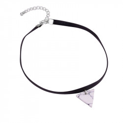 PEF0016 BOBIJOO Jewelry Halsreif Dreieck mit Weißem Marmor, Leder