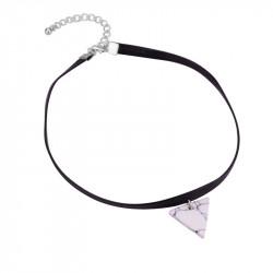 PEF0016 BOBIJOO Jewelry Ras Collo Triangolo Di Marmo Bianco In Pelle