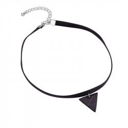 PEF0017 BOBIJOO Jewelry Ras Collo Triangolo Di Marmo Nero In Pelle