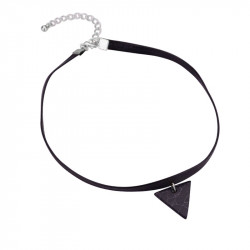 PEF0017 BOBIJOO Jewelry Ras Neck Triangle Black Marble Leather