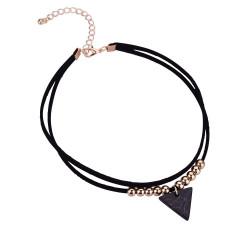 PEF0019 BOBIJOO Jewelry Ras de Cuello Triángulo de Mármol Negro de Doble Rango y Perlas Doradas