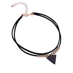 PEF0019 BOBIJOO Jewelry Ras Neck Triangle Black Marble Double Rank and Golden Beads