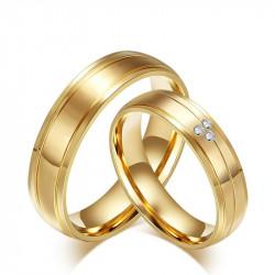 Alliance Couple Bague Anneau Doré à l'Or Fin