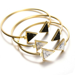 BR0101 BOBIJOO Jewelry Bangle Bracelet Triangle Marble