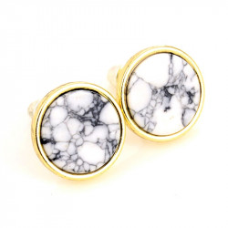 Earrings Round White Marble Grey