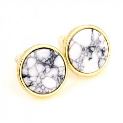 BOF0046 BOBIJOO JEWELRY Earrings Round White Marble Grey