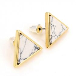 BOF0047 BOBIJOO JEWELRY Boucles d'Oreilles Triangle Marbre Blanc Gris