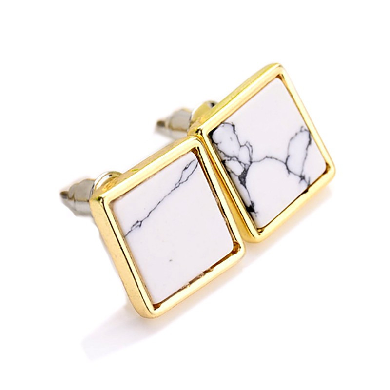 BOF0048 BOBIJOO JEWELRY Earrings Square White Marble Grey
