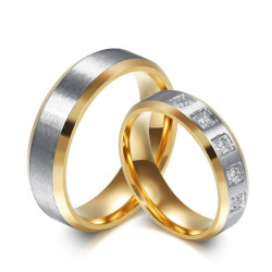 Alliance Bague Anneau Doré à l'Or Fin Argenté Couple