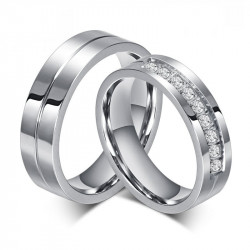 AL0010 BOBIJOO Jewelry Alianza Anillo Anillo De Acero Inoxidable Rhinestone Pareja