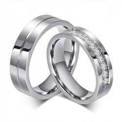AL0010 BOBIJOO Jewelry Alliance Bague Anneau Acier Inoxydable Strass Couple