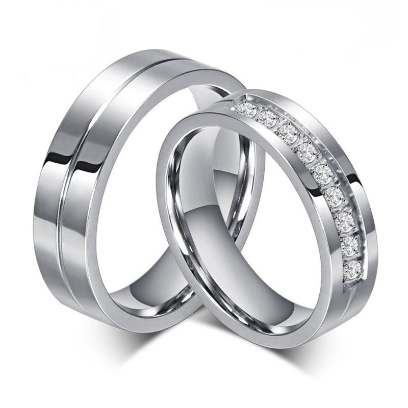 AL0010 BOBIJOO Jewelry Alleanza Anello Anello In Acciaio Inox Strass Coppia