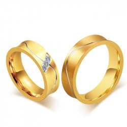 AL0011 BOBIJOO Jewelry Alliance Bague Anneau Doré à l'Or Fin Incurvée Homme Femme