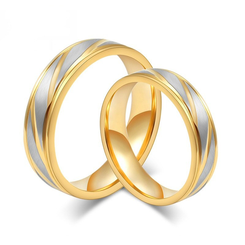 AL0012 BOBIJOO Jewelry Alianza Anillo Anillo chapado en Oro de acabado de Acero inoxidable Cepillado Pareja