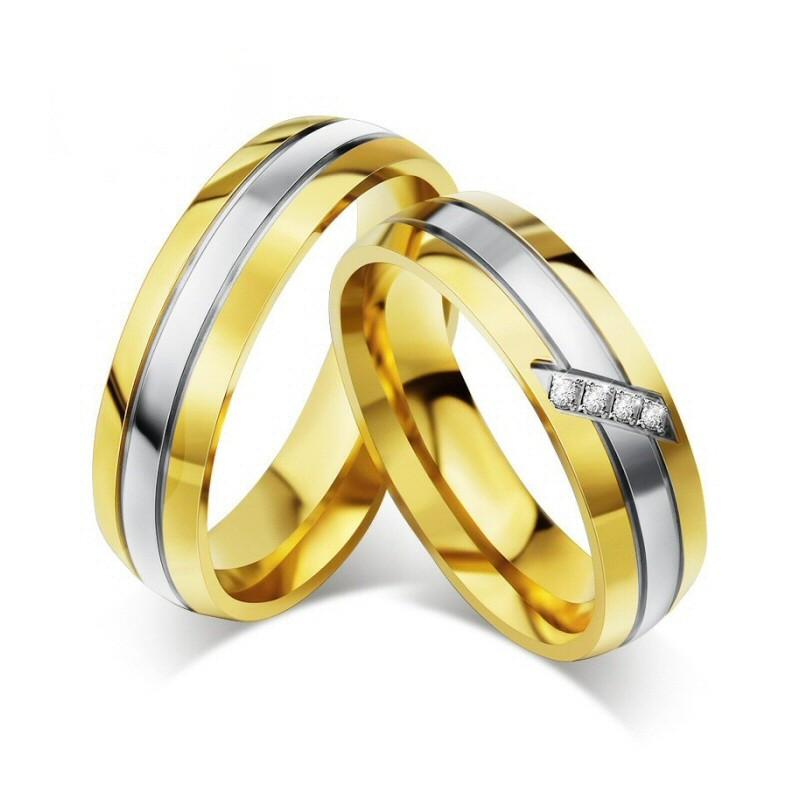 AL0013 BOBIJOO Jewelry Alleanza Anello, Oro Strass Donna Uomo