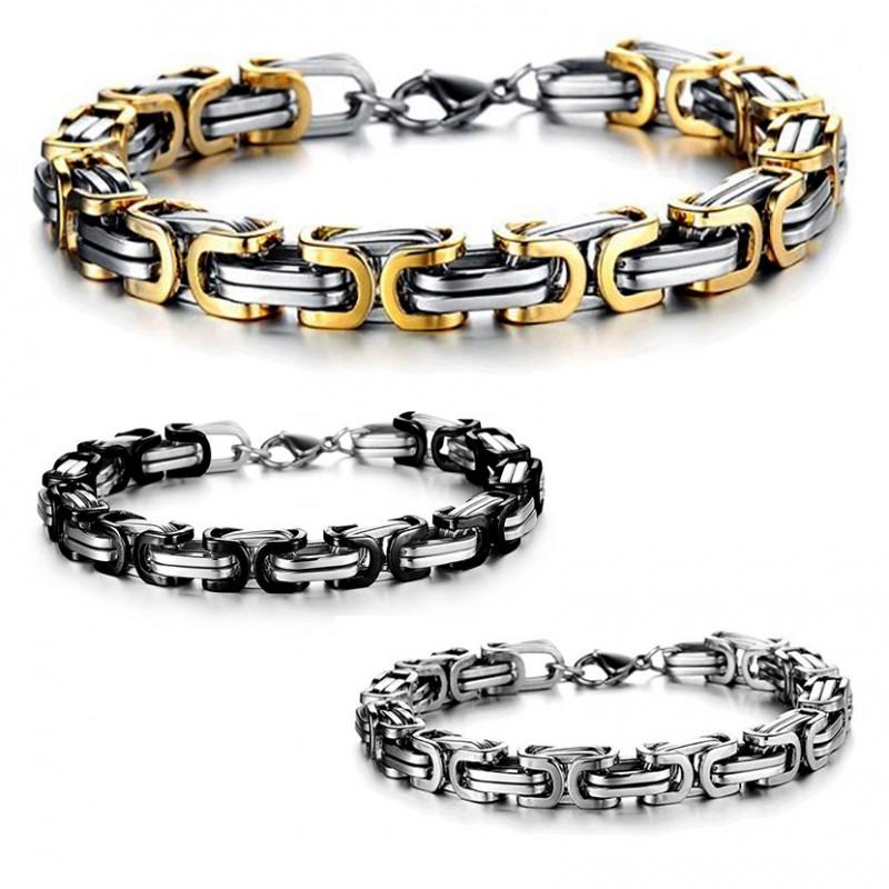 BR0093 BOBIJOO Jewelry Bracelet Mailles Entrelacées Acier Inoxydable 3 couleurs