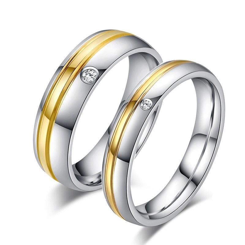 AL0014 BOBIJOO Jewelry Alleanza Acciaio Inossidabile, Oro Zircone