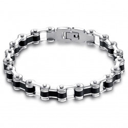 BR0103 BOBIJOO Jewelry Bracelet Biker Chaine de Moto Acier et Silicone