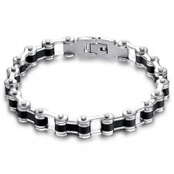 BR0103 BOBIJOO Jewelry Armband Biker Kette Motorrad Stahl und Silikon