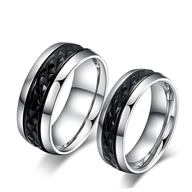 AL0015 BOBIJOO Jewelry Eine Originelle Kombination Edelstahl-Dekor Schwarz Titan
