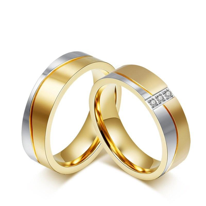 AL0016 BOBIJOO Jewelry Alianza Anillo chapado en Oro de Acero Inoxidable con acabado