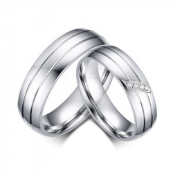 Alliance Ring Stainless Steel Couple Mixed Zircon