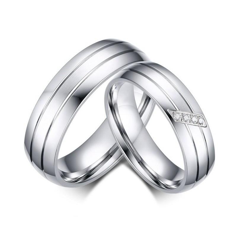 AL0017 BOBIJOO Jewelry Alianza Anillo De Acero Inoxidable De Pareja Mixta De Circón
