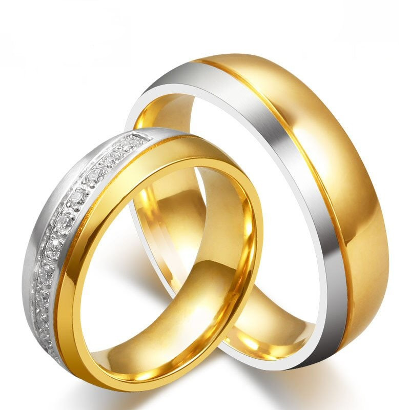 AL0018 BOBIJOO Jewelry Alliance Ring Ring Gold Silver Rhinestone