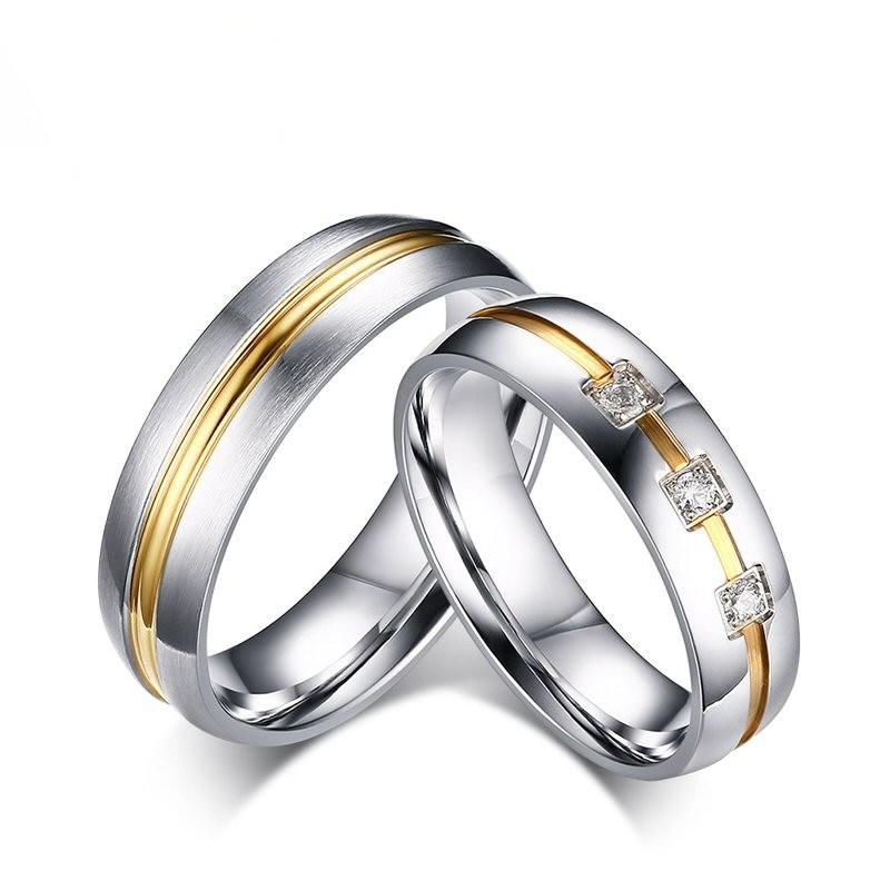 AL0019 BOBIJOO Jewelry Alianza de Acero Inoxidable Anillo con diamantes de Imitación, de Alambre, de Oro