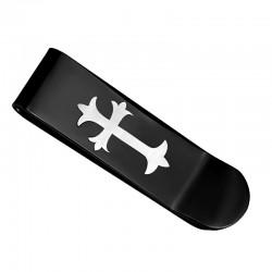 Pince à billet Acier Inoxydable Croix Templier Noir Titane