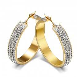 BOF0057 BOBIJOO JEWELRY Earrings hoop earrings Zirconia Gold-plated finish