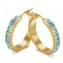 BOF0058 BOBIJOO JEWELRY Earrings Creoles Zirconium, Gold Blue
