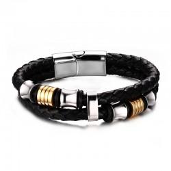 Bracelet Vrai Cuir Noir Acier Inoxydable breloques