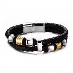 Bracelet Vrai Cuir Noir Acier Inoxydable breloques bobijoo