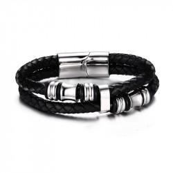 BR0105 BOBIJOO Jewelry Pulsera Real de Cuero Negro de Acero Inoxidable encantos