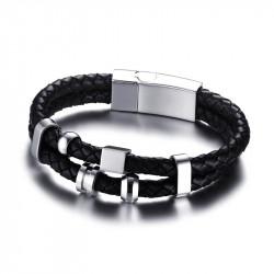 BR0108 BOBIJOO Jewelry Pulsera De Cuero Negro De Acero Inoxidable