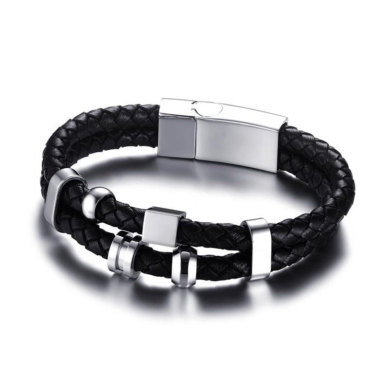 BR0108 BOBIJOO Jewelry Bracelet Vrai Cuir Noir Acier Inoxydable