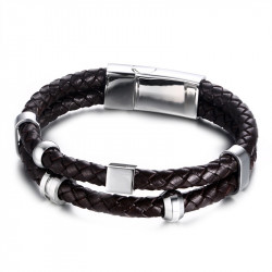 Bracelet Vrai Cuir Marron Acier Inoxydable