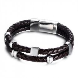 BR0109 BOBIJOO Jewelry Armband Echt Leder Braun Edelstahl