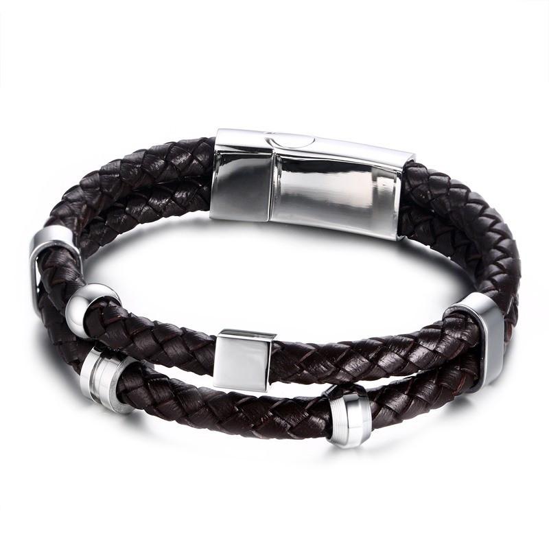 BR0109 BOBIJOO Jewelry Bracelet Vrai Cuir Marron Acier Inoxydable