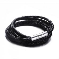Bracelet Vrai Cuir Noir Entrelacé Acier Inoxydable
