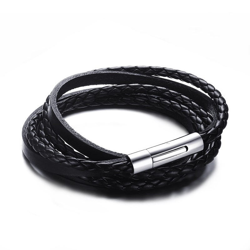 BR0110 BOBIJOO Jewelry Bracelet Vrai Cuir Noir Entrelacé Acier Inoxydable