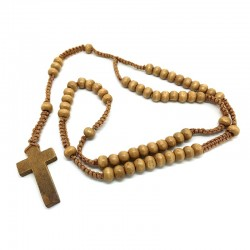 CP0016 BOBIJOO Jewelry Wooden rosary Brown Camel