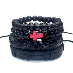 BR0121 BOBIJOO Jewelry Ensemble de 4 Bracelets Noir Croix Rouge