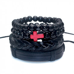 BR0121 BOBIJOO Jewelry Set of 4 Bracelets Black Red Cross