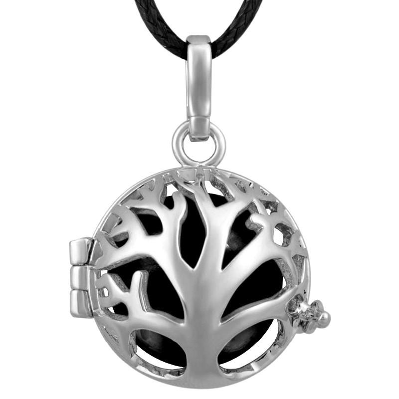 GR0013 BOBIJOO Jewelry Collier Pendentif Bola Cage Musical Arbre de Vie Argenté Noir